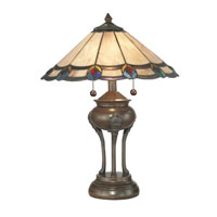 Dale Tiffany Peacock Ball Base Table Lamp 2 Light in Antique Bronze Paint TT11060