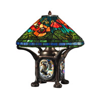 Dale Tiffany Poppy 3 Light Table Lamp in Dark Antique Bronze TT12329