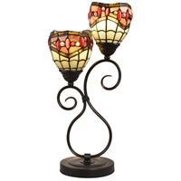 Dale Tiffany Fall River 2 Light Table Lamp in Dark Bronze TT12426