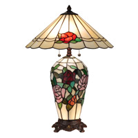 Dale Tiffany Rose 3 Light Table Lamp in Antique Bronze TT13102
