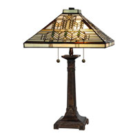 Dale Tiffany Oak Park 2 Light Table Lamp in Fieldstone TT13115