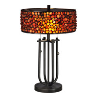 Dale Tiffany Pebble Stone 2 Light Table Lamp in Dark Bronze TT13197