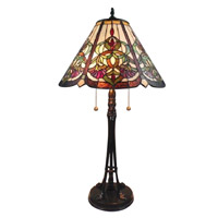 Baja 26 inch 75 watt Tiffany Bronze Table Lamp Portable Light