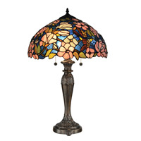 Floral 23 inch 60 watt Tiffany Bronze Table Lamp Portable Light