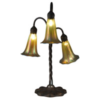 Dale Tiffany Lily 3 Light Table Lamp in Antique Bronze/Verde TT15073