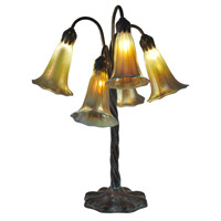 Dale Tiffany Lily 5 Light Table Lamp in Antique Bronze/Verde TT15074