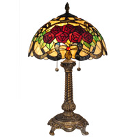 Dale Tiffany Rose 2 Light Table Lamp in Antique Brass TT15099