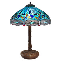 Dale Tiffany Dragonfly 3 Light Table Lamp in Antique Bronze TT15103