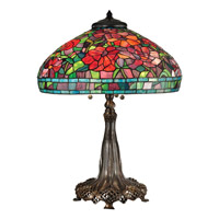 Dale Tiffany Peony 3 Light Table Lamp in Antique Bronze/Verde TT15104