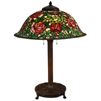 Dale Tiffany Rose 3 Light Table Lamp in Antique Bronze TT15105