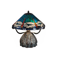 Dale Tiffany Dragonfly 3 Light Table Lamp in Antique Bronze/Verde TT15106