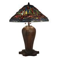 Dale Tiffany Cardinal 3 Light Table Lamp in Antique Bronze TT15107