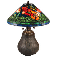 Dale Tiffany TT15119 Dallas Peony 22 inch 60 watt Antique Bronze Table Lamp Portable Light