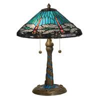 Dale Tiffany Dragonfly 2 Light Table Lamp in Antique Bronze TT15159