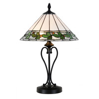 Green Leaves 25 inch 7.5 watt Tiffany Bronze Table Lamp Portable Light