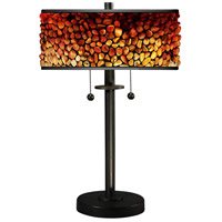 Pebblestone II 23 inch 75 watt Tiffany Bronze Table Lamp Portable Light
