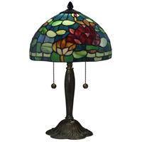 Dale Tiffany TT17073 Jocelyn Rose 19 inch 75 watt Antique Bronze Verde Table Lamp Portable Light