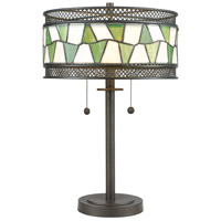 Rainy Slate 23 inch 75 watt Tiffany Bronze Table Lamp Portable Light