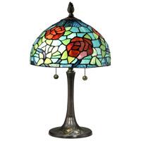 Dale Tiffany TT18183 Crimson Rosette 20 inch 75 watt Antique Brass Table Lamp Portable Light