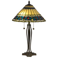 Jeweled Leaves 26 inch 75 watt Antique Bronze Verde Table Lamp Portable Light
