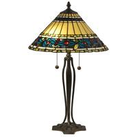 Dale Tiffany TT18190 Jeweled Leaves 26 inch 75 watt Antique Bronze Verde Table Lamp Portable Light