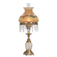 Dale Tiffany Handpainted Hurricane Table Lamp 1 Light in Antique Brass Plating TT50211