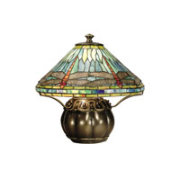 Dale Tiffany Darius Table Lamp 2 Light in Antique Brass Plating TT50218 photo thumbnail
