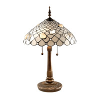 Dale Tiffany TT60055 Seashell 26 inch 60 watt Antique Brass Table Lamp Portable Light
