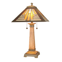 Dale Tiffany Thunder Bay Table Lamp 2 Light in Antique Brass/Mahogany TT60287