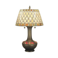 Dale Tiffany Winona Table Lamp 3 Light in Antique Brass TT60499