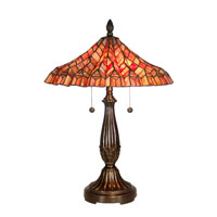 Dale Tiffany Red Lotus 2 Light Table Lamp in Fieldstone TT60753 photo thumbnail