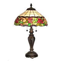 Dale Tiffany Rose Floral Table Lamp 2 Light in Fieldstone TT60755