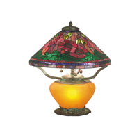 Dale Tiffany Poppy Tiffany 3+1 Light Table Lamp in Amber TT60918