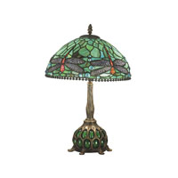 Dragonfly 19 inch 40 watt Antique Bronze/Verde Table Lamp Portable Light