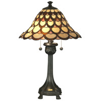 Dale Tiffany Peacock 2 Light Table Lamp in Antique Bronze TT70110