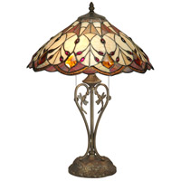 Dale Tiffany Marshall Table Lamp 2 Light in Antique Brass Plating TT70699