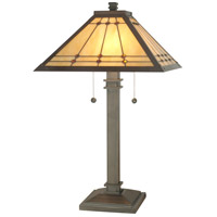 Dale Tiffany Jeweled Mission Table Lamp 2 Light in Mica Bronze TT70734