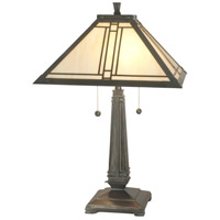 Dale Tiffany Lined Mission 2 Light Table Lamp in Antique Brass TT70735