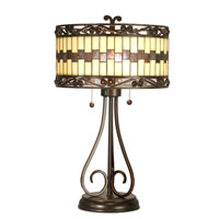 Dale Tiffany Giuseppe Table Lamp 2 Light in Antique Golden Sand TT80124