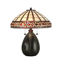 Dale Tiffany Tiffany Pebblestone Table Lamp 2 Light in Antique Bronze TT90019 photo thumbnail