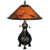 Dale Tiffany Mica Leafs Table Lamp 2 Light in Antique Golden Sand TT90193 photo thumbnail