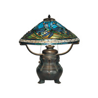 Dale Tiffany Dragonfly Replica Table Lamp 3 Light in Antique Verde TT90421 photo thumbnail
