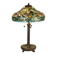 Dale Tiffany Peony Tiffany Replica Table Lamp 3 Light in Antique Verde TT90428