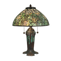 Dale Tiffany Daffodil Tiffany Replica Table Lamp 2 Light in Antique Bronze Verde Green TT90429