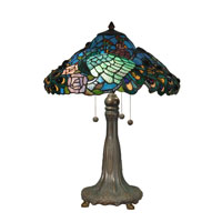 Dale Tiffany Peacock Tiffany Replica Table Lamp 3 Light in Antique Bronze/Verde TT90431 photo thumbnail