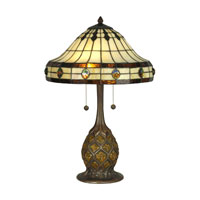 Dale Tiffany Tiffany 2 Light Table Lamp in Antique Bronze/Verde TT90432 photo thumbnail