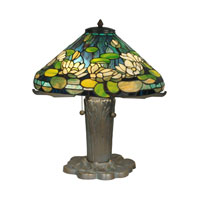 Dale Tiffany Water Lily Tiffany Replica Table Lamp 3 Light in Antique Bronze/Verde TT90436