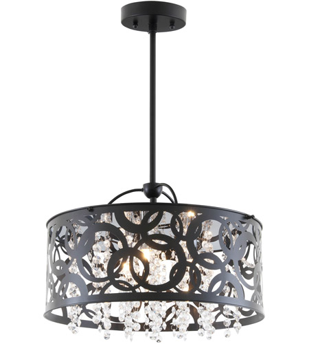 DVI DVP14704EB-CRY Woodstock 3 Light 15 inch Ebony Pendant Ceiling Light photo thumbnail