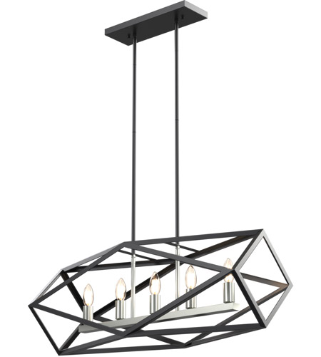 DVI DVP29502SN/GR Polygon 5 Light 32 inch Satin Nickel and Graphite Linear Pendant Ceiling Light photo thumbnail