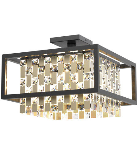 DVI DVP6312CPG/GR-CRY Amethyst 4 Light 16 inch Champagne Gold and Graphite Semi Flush Mount Ceiling Light photo thumbnail